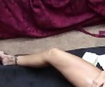 Hot brunette gets machine fucked on floor with big cock
