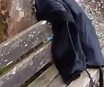 Fisting his hot wife over a park bench