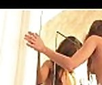 FTVParadise.com FTVGirls Jesse long hair petite babe kissing in the mirror