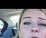 Cute Blonde In Her Car