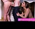 Two hot babe in a sneaky threesome
