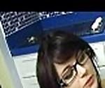 kinky teen with glasses gives handjob