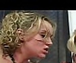 Blonde MILF and young round ass daughter fucked in threesome