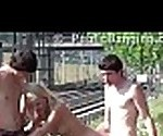 Public jerk off on a best friend&#039_s cute teen blonde girlfriend, fucking and bj&#039_s