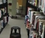 Naughty college student masturbates in the library