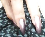 Clear Purple Nails Handjob