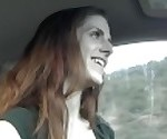 Risky Public Handjob and Cum in Redhead\'s Mouth in Car