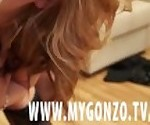 Blonde European teen gets fucked rough and pissed on during her casting