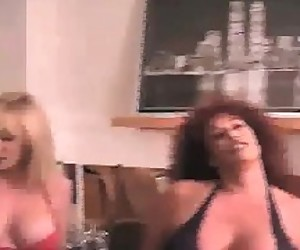 A BIG TIT BLONDE,AND BIG TIT RED HEAD,SUCKING 2 HARD DICKS AND BALLS