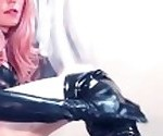 TS Lucia Maya in Shiny Latex Fingering, Dildo Fucking & Stroking to Orgasm