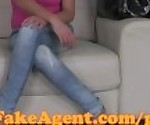 FakeAgent Busty amateur talks to BF when having sex with Casting agent
