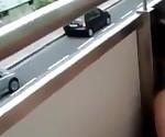 Dude Fucks Girlfriend on Balcony While Busty MILF Watching