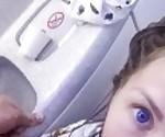 Mile high club - Quick fuck at airplane restroom. Mia Bandini