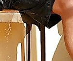 Wetting shorts outdoors and a golden shower on the porch