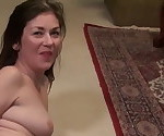 Real mom fucks hairy pussy on carpet