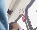 Girl looking at my head cock outside in the bus