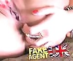 FakeAgentUK Blowjob sees filthy Romanian chick swallow cock and bollocks